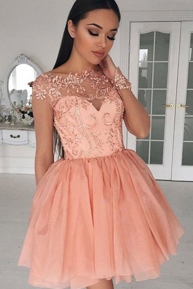 56bc3c19fd287 2019 Long Sleeves Homecoming Dresses Scoop Chiffon With Applique Short/Mini