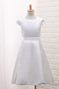 61a072b7d 2019 New Arrival Scoop A Line Flower Girl Dresses Satin With Handmade  Flowers