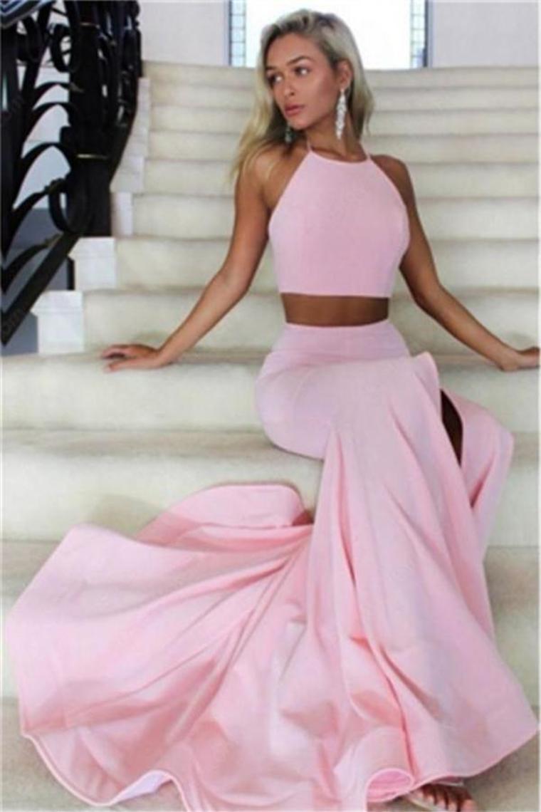 2 stück rosa open back halfter lange abendkleider schöne