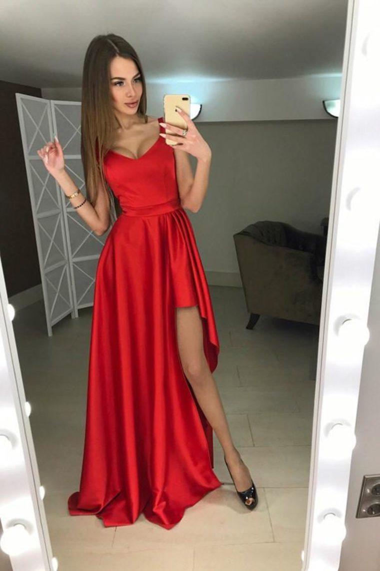 1a4878e18 Vestidos de fiesta largos rojos elegantes elegantes simples del vintage  vestidos de fiesta