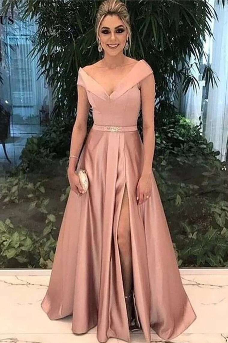 a7282f60a378 A-Line Off-The-Shoulder Satin Prom Formal Dress With Split US ...