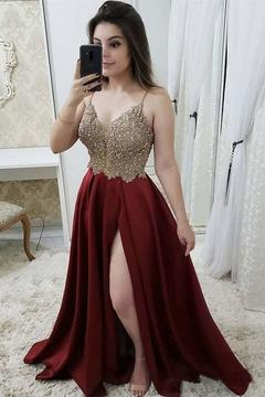06053ca69d0eb 2019 Prom Dress Sweetheart Up Satin With Beads And Sequins Spegetti Sraps
