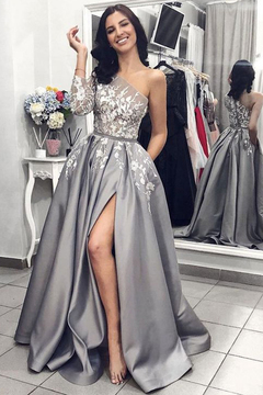 5721b6900f14 2019 Ball Gown One Shoulder Long Sleeves Grey Satin Split White Lace Long  Prom Dresses With